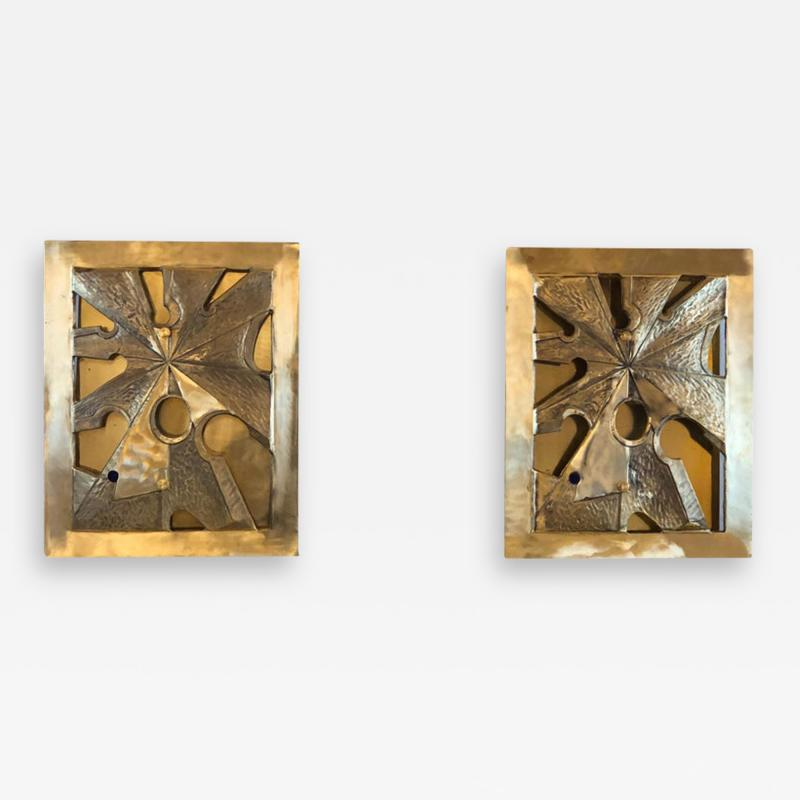 Late20th Century Pair of Brutalist Bronze Brass Sconces w Purple Agate Cameos