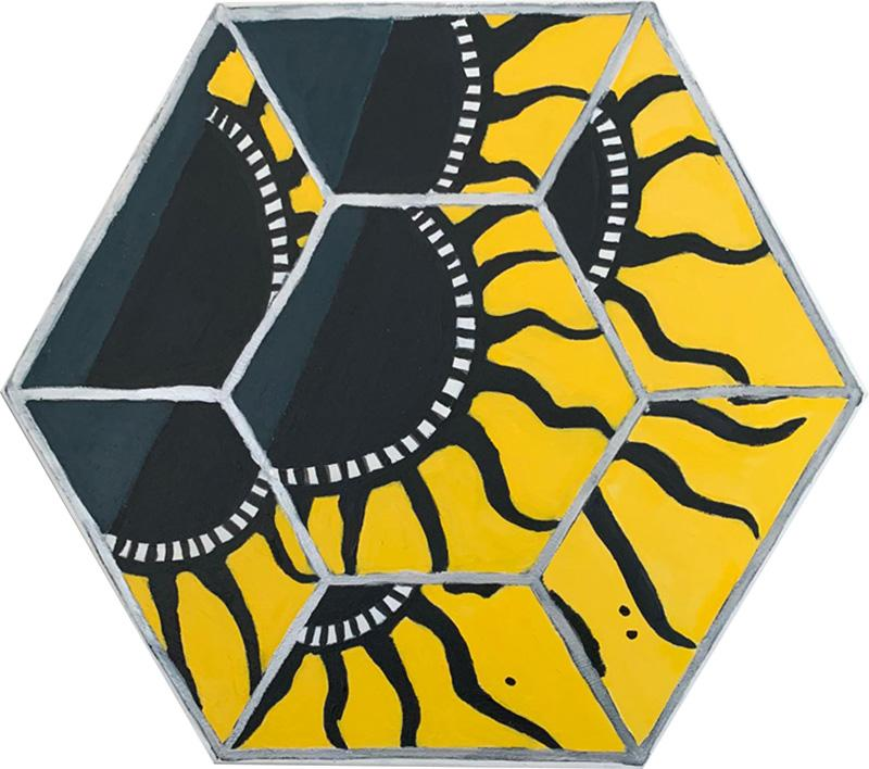 Laurence Calabuig ENDLESS REFLECTIONS GREEN YELLOW POLYNESIAN SUN ART DECO Hexagonal painting