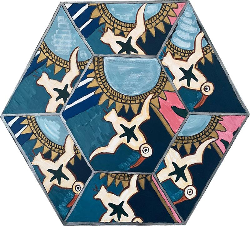 Laurence Calabuig ENDLESS REFLECTIONS LA ROUE DE LA FORTUNE Hexagonal painting
