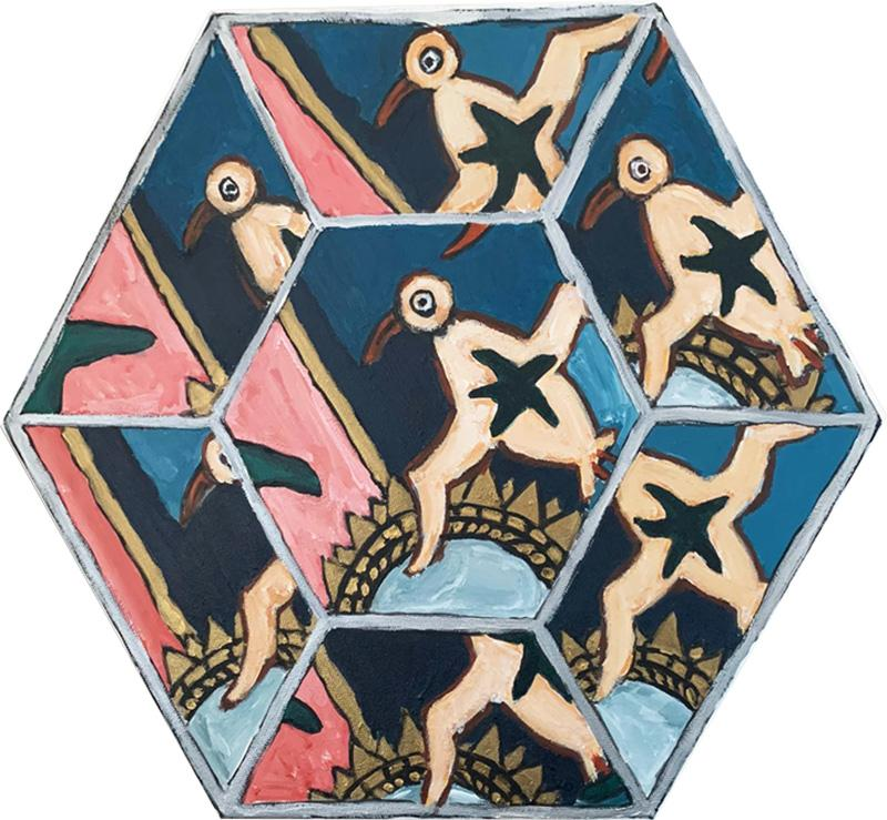 Laurence Calabuig ENDLESS REFLECTIONS LA ROUE DE LA FORTUNE PINK TATOO Hexagonal painting