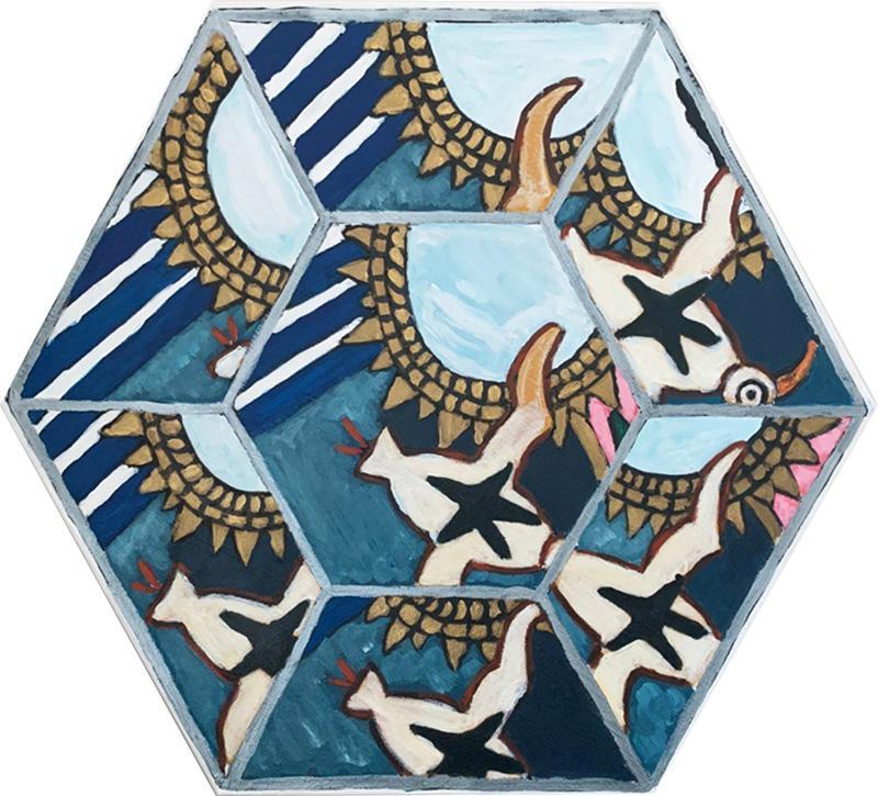 Laurence Calabuig ENDLESS REFLECTIONS LA ROUE DE LA FORTUNE TATOOED BIRD Hexagonal painting