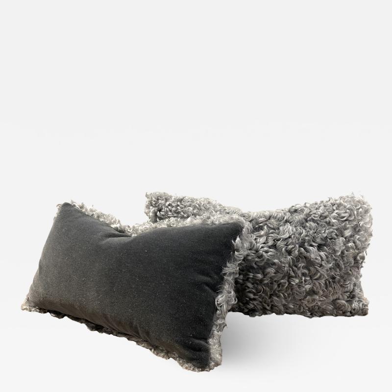 Lawton Mull Pillows of Gotland Lambskin and Mohair Velvet