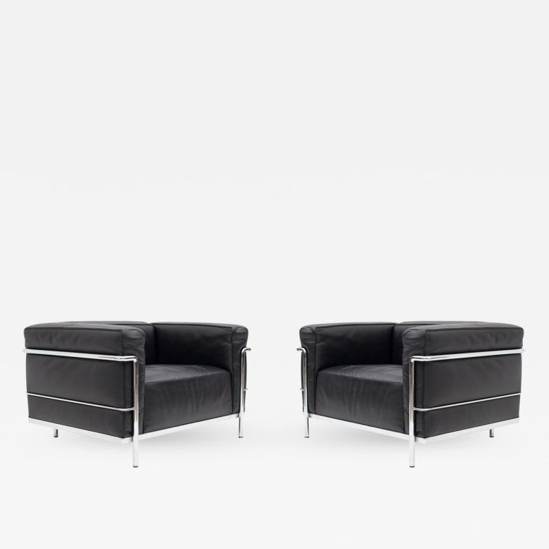 Le Corbusier Jeanneret Perriand Pair of LC3 Le Corbusier Black Poltrona Lounge Chairs
