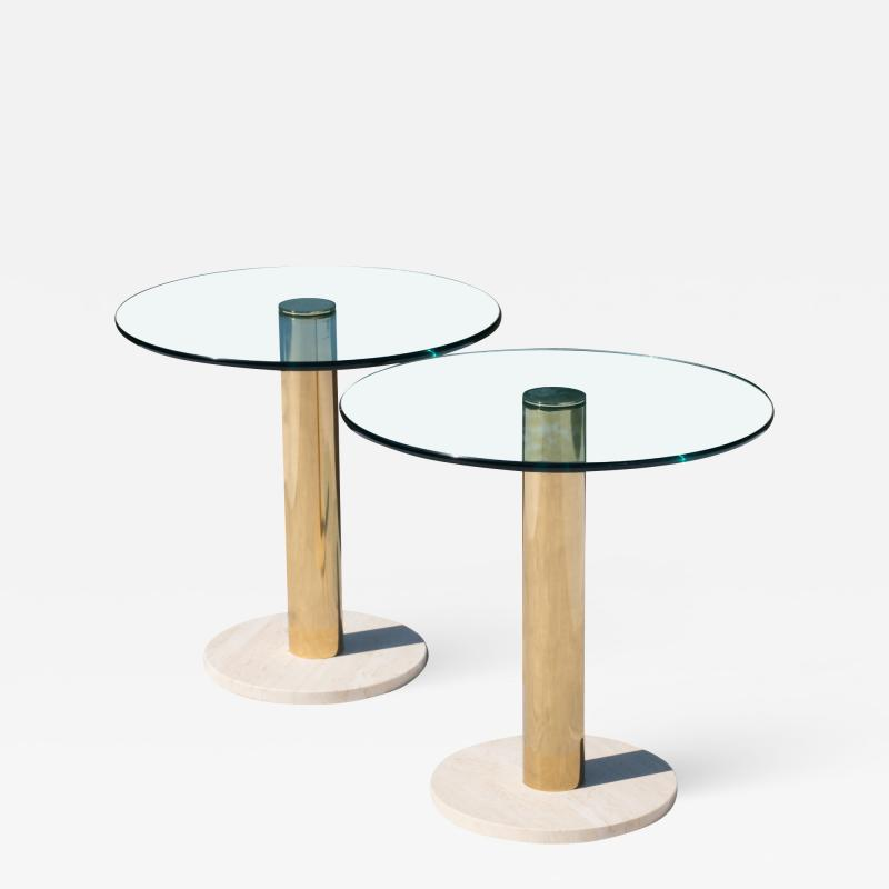 Leon Rosen Accent Tables in Travertine Brass by Pace Collection