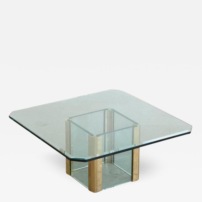 Leon Rosen Brass Coffee Table with an Octagonal Beveled Glass Top by Leon Rosen for Pace