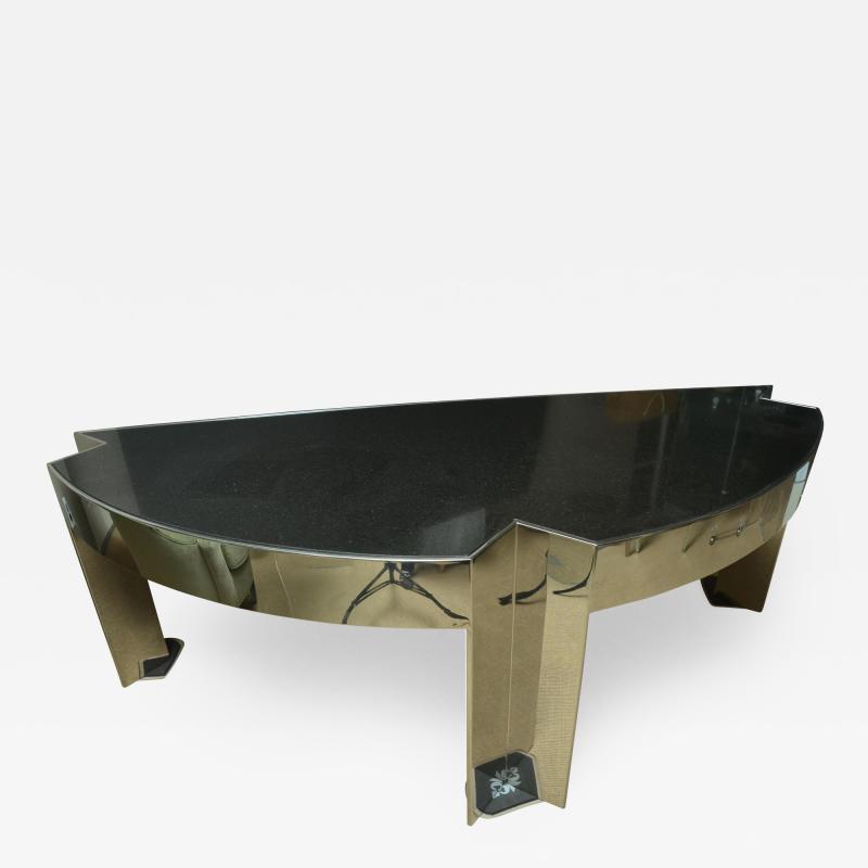 Leon Rosen Fabulous Mid Century Polished Steel Desk with Black Marble Top by Leon Rosen