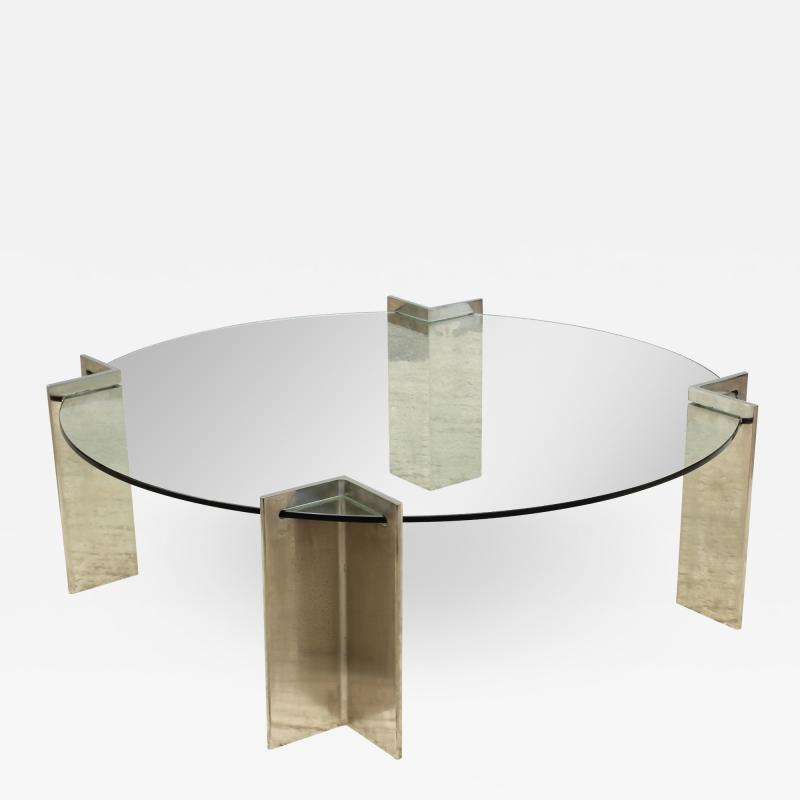 Leon Rosen Leon Rosen For Pace Modernist Steel And Glass Coffee Table
