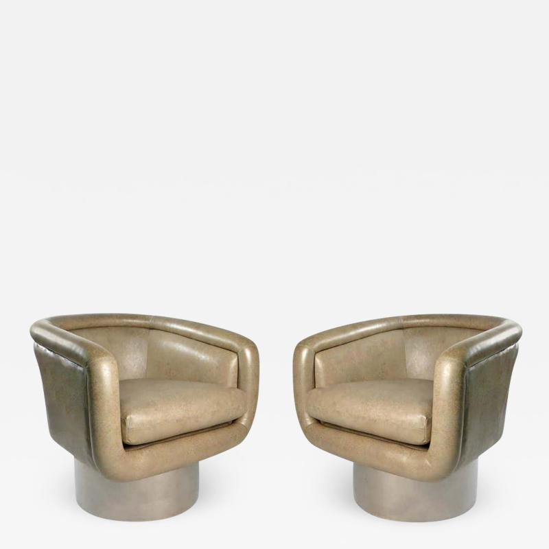 Leon Rosen Leon Rosen Swivel Tub Chairs for Pace in Mirror Polished Stainless