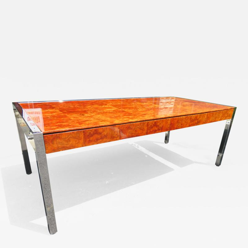 Leon Rosen Monumental Burl and Stainless Steel Executive Desk by Leon Rosen for Pace