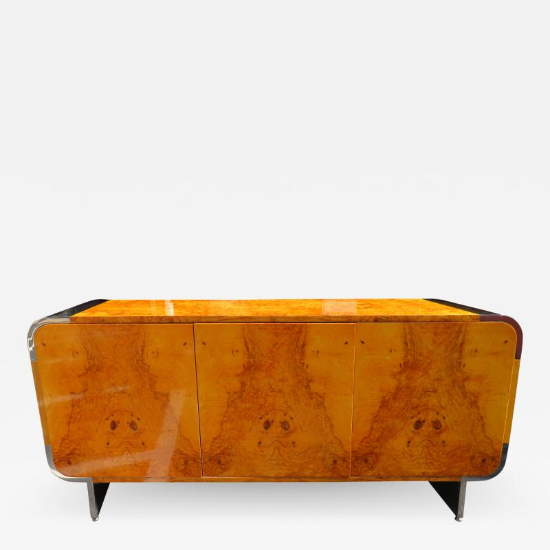Leon Rosen Outstanding Pace Collection Burl and Chrome Credenza Leon Rosen