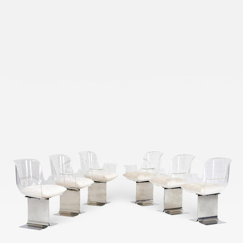 Leon Rosen Pace Collection Lucite Swivel Dining Chairs Model no 171