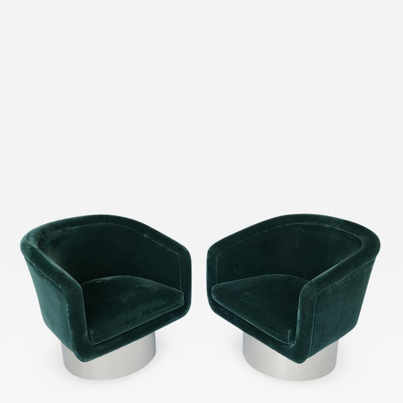 Leon Rosen Pair of Leon Rosen Pedestal Swivel Lounge Chairs