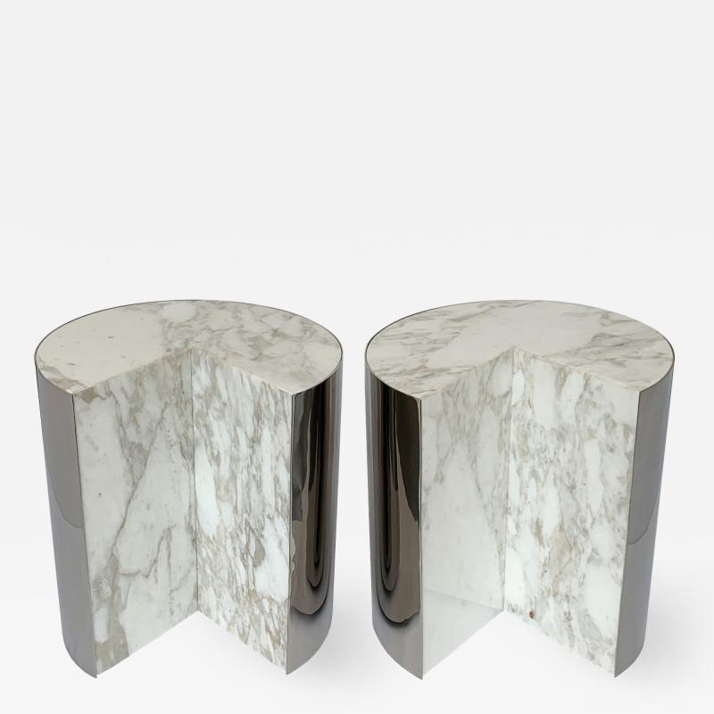 Leon Rosen Pair of Pace Collection Marble and Steel Pie Shaped Side Tables