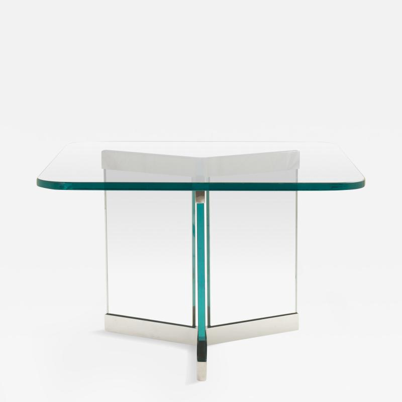 Leon Rosen Tri Base Glass Cocktail Table by Leon Rosen for Pace