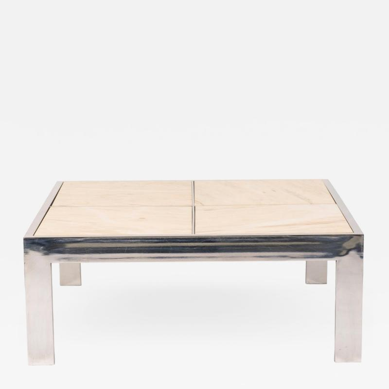 Leon Rosen for Pace Chrome and Marble Cocktail Table