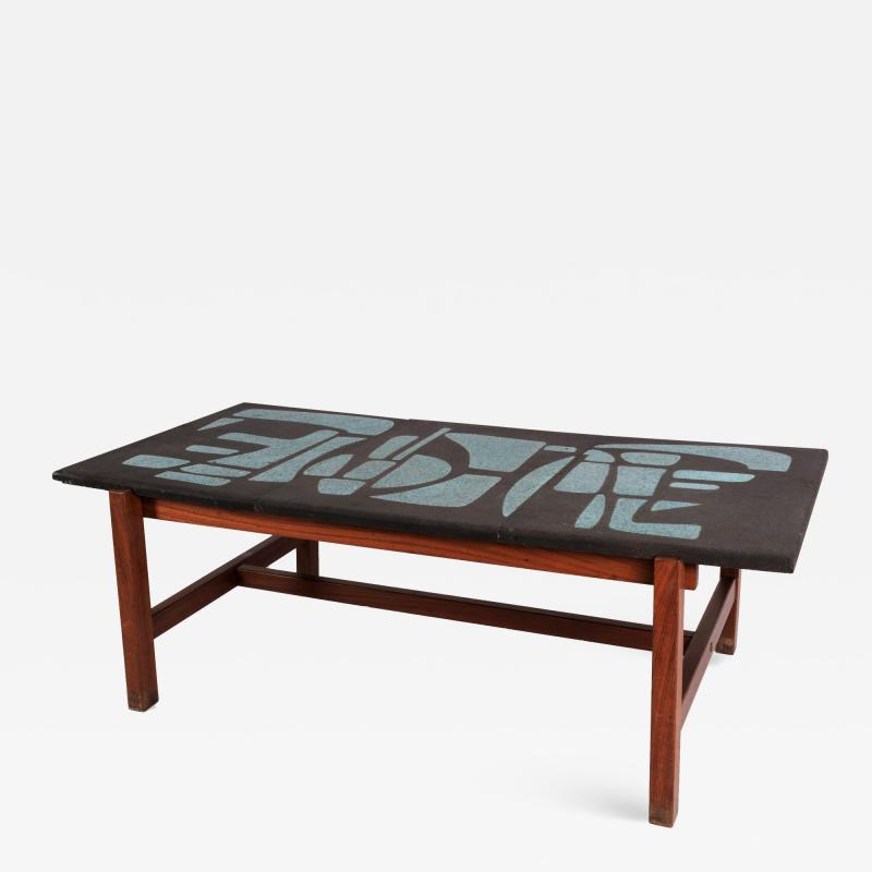 Les 2 Potiers Michelle et Jacques Serre Enameled Lava Stone Coffee Table with Wood Base
