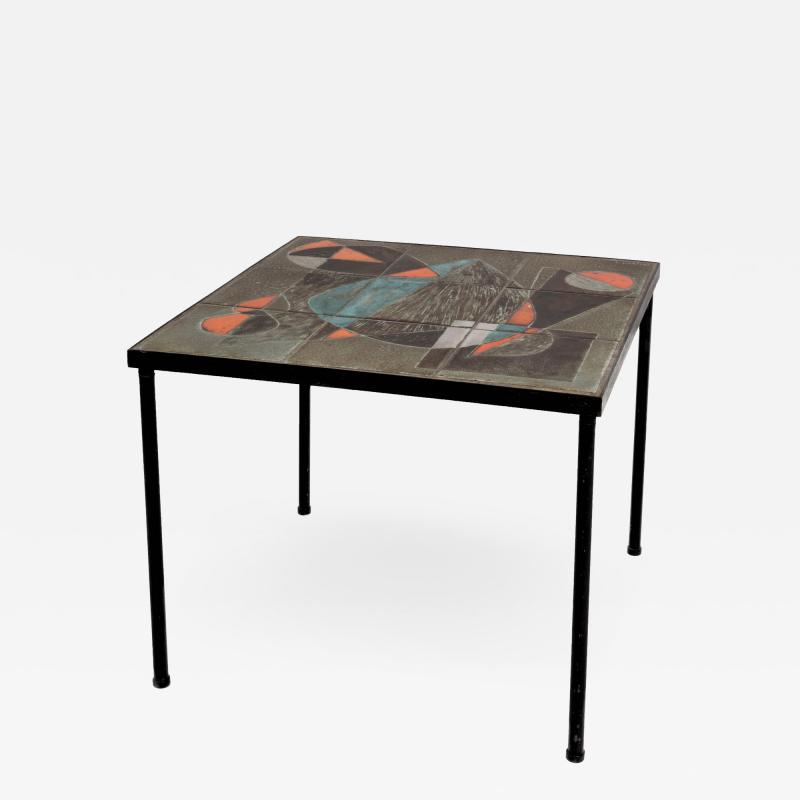 Les 2 Potiers Michelle et Jacques Serre Glazed Ceramic Tile Side Table with Metal Base