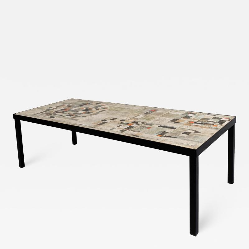 Les 2 Potiers Michelle et Jacques Serre Glazed Ceramic Tile Top Table with Metal Base