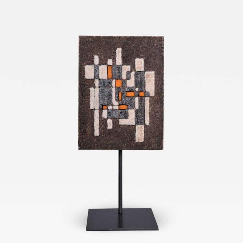 Les 2 Potiers Michelle et Jacques Serre Panneau Abstrait Abstract Decorative Enameled Lava Stone Panel