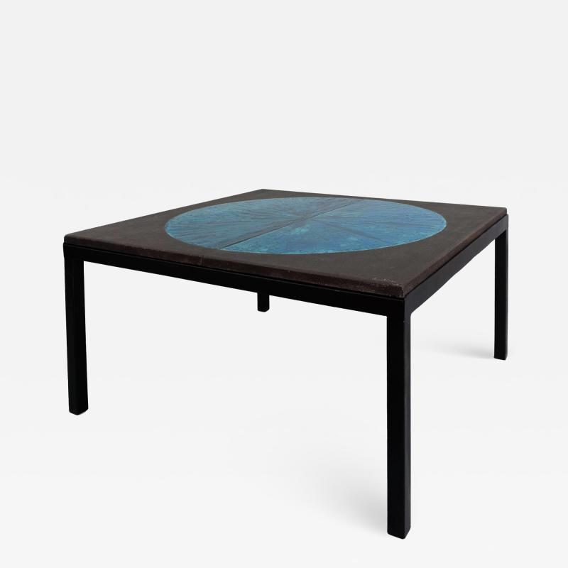 Les 2 Potiers Michelle et Jacques Serre Table Lune Enameled Lava Stone Table with Metal Base