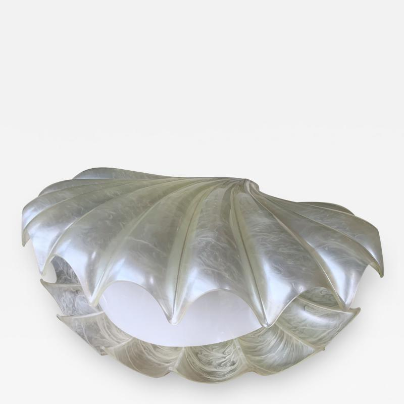 Liane Rougier Large Shell Lamp Pearl Resin Brass by Maison Rougier France 1970s
