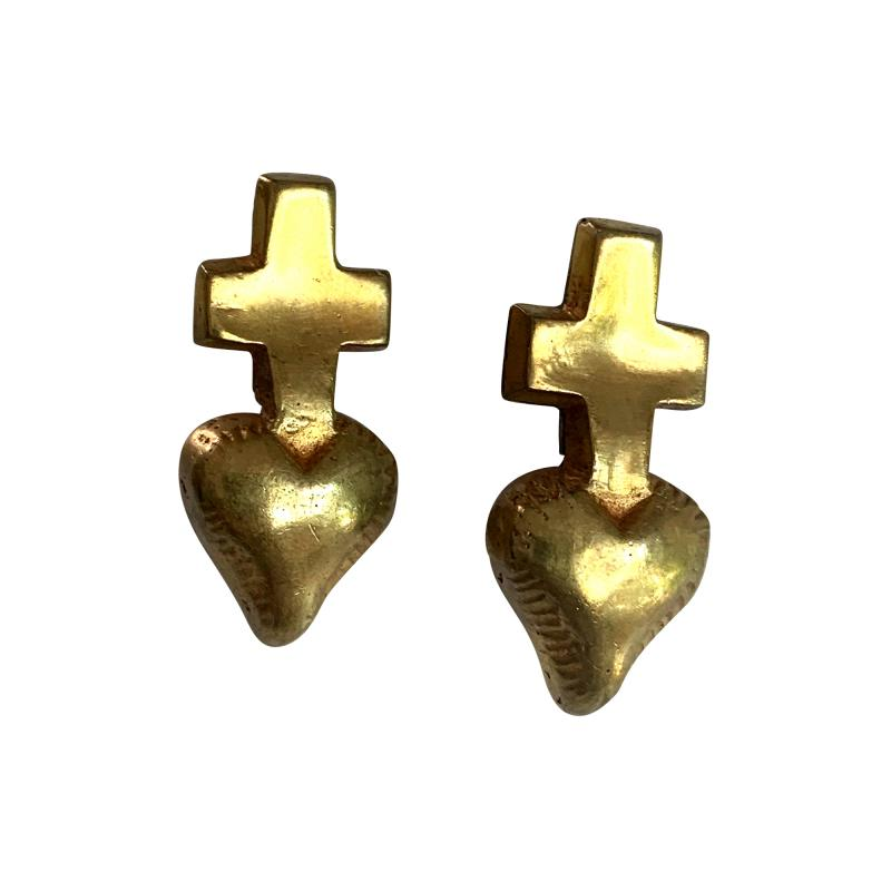 Line Vautrin A Pair of French Gilt Bronze Earrings by Line Vautrin