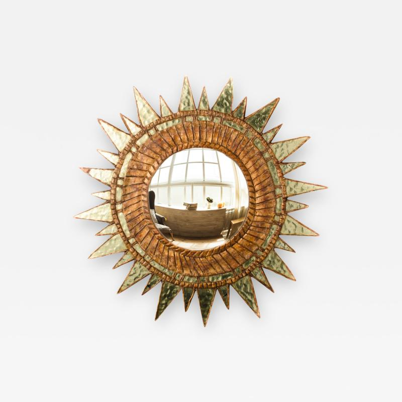 Line Vautrin A large convex mirror with green mirrored glass in the manner of Line Vautrin