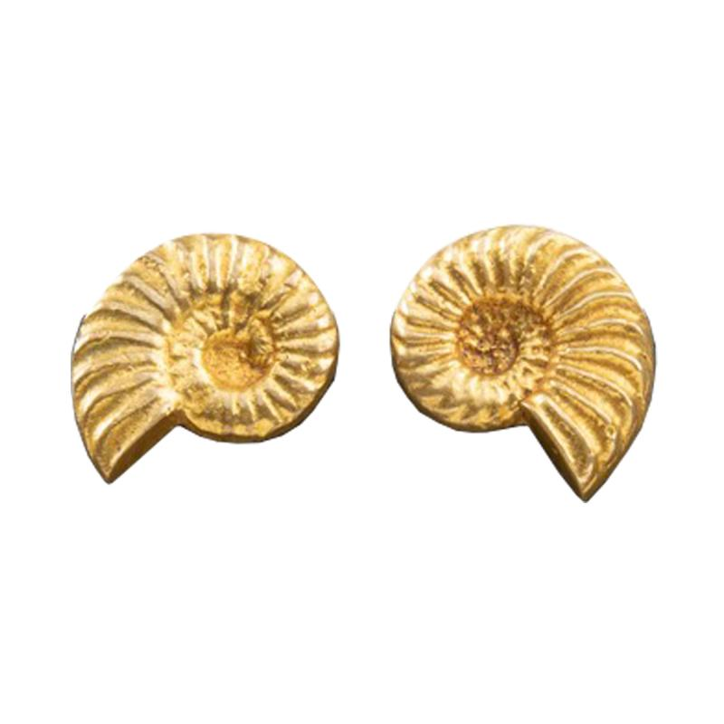 Line Vautrin A pair of Nautile gilded bronze earrings