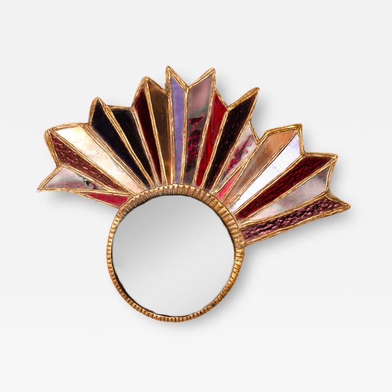 Line Vautrin An asymmetrical multicolored glass mirror in the manner of Line Vautrin