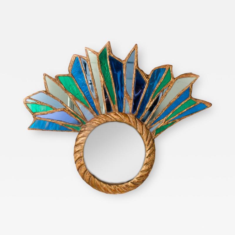 Line Vautrin An asymmetrical petite peacock mirror in the manner of Line Vautrin