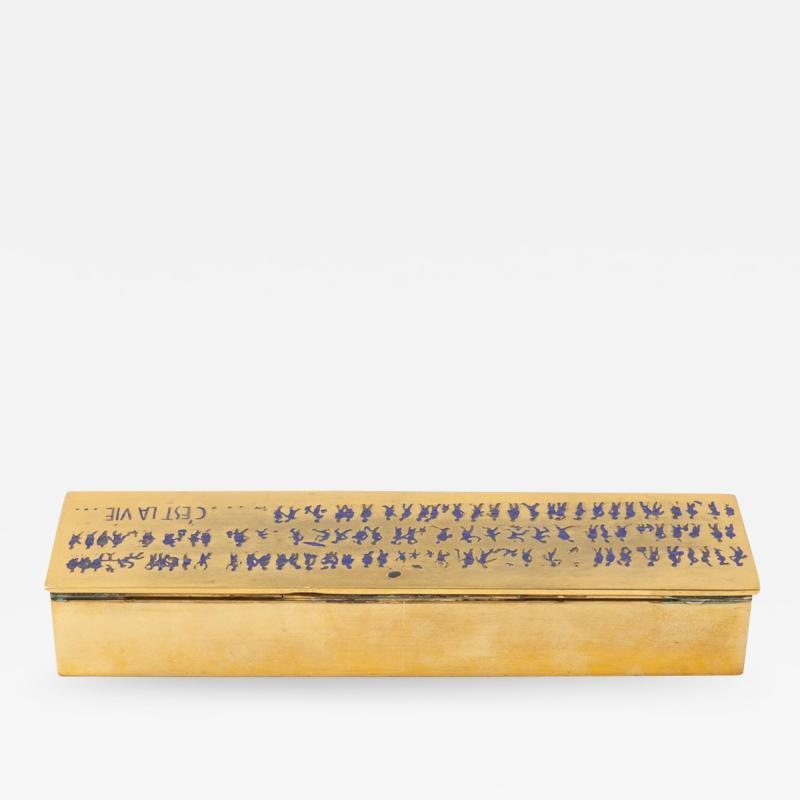Line Vautrin French Line Vautrin Cest La Vie Gilded Bronze Box