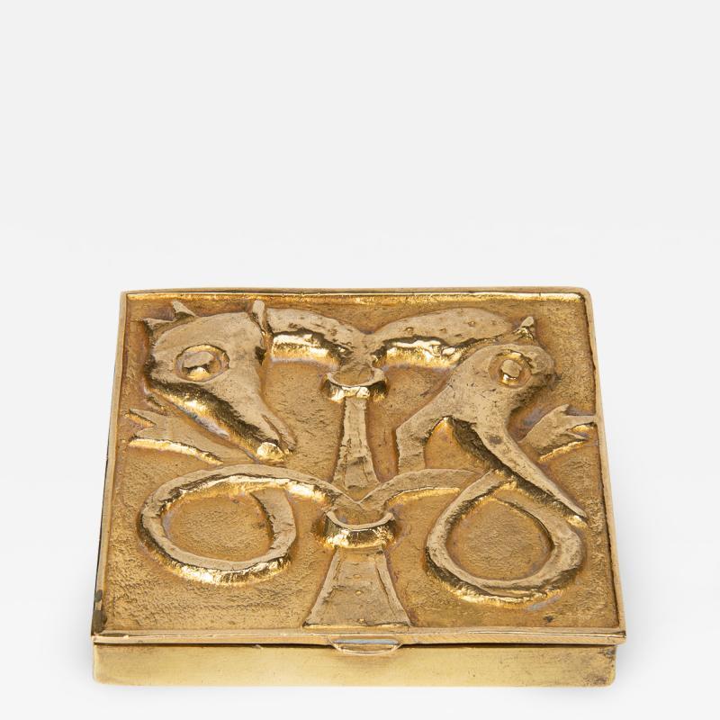 Line Vautrin French Line Vautrin Gilded Bronze Pocket Emptier Le loup et le Renard