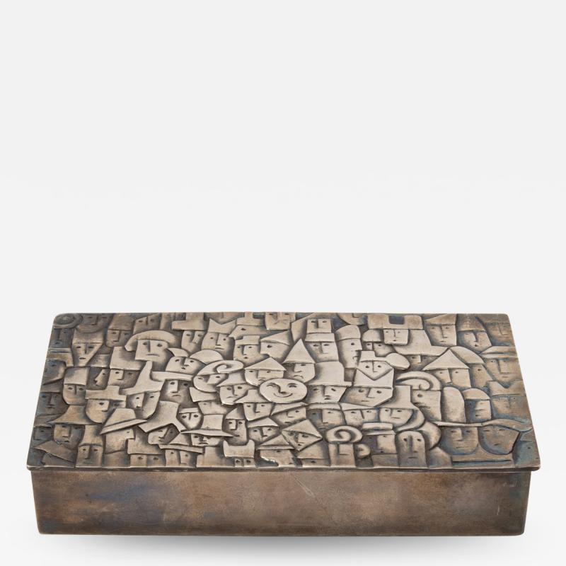 Line Vautrin French Line Vautrin Heureux Parmi La Foule Silvered Bronze Box