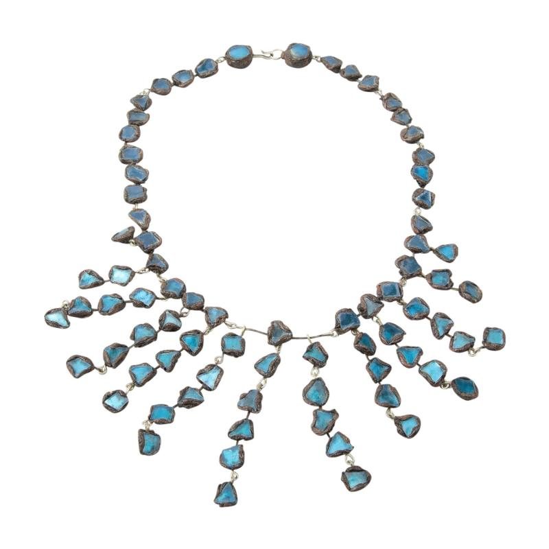 Line Vautrin Line Vautrin Fr A Farah talosel and incrusted blue mirrors large necklace