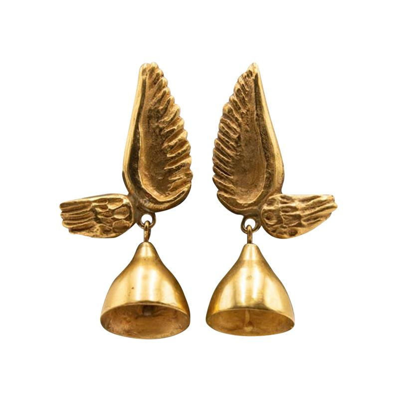 Line Vautrin Line Vautrin France Les Cloches Ail es Winged Bells Bronze Earrings