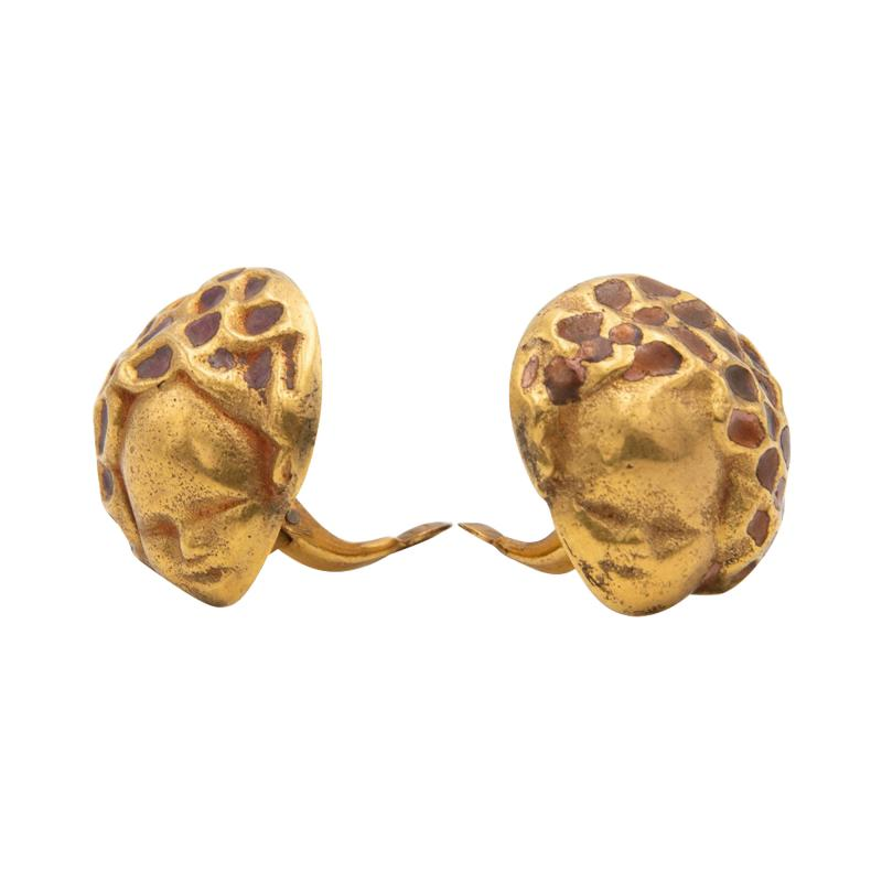 Line Vautrin Line Vautrin France angels with bouquet of flowers head pair of earrings