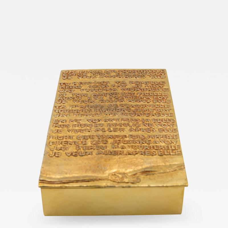 Line Vautrin Line Vautrin France jai perdu ma tourterelle Gilded Bronze Rebus Large Box