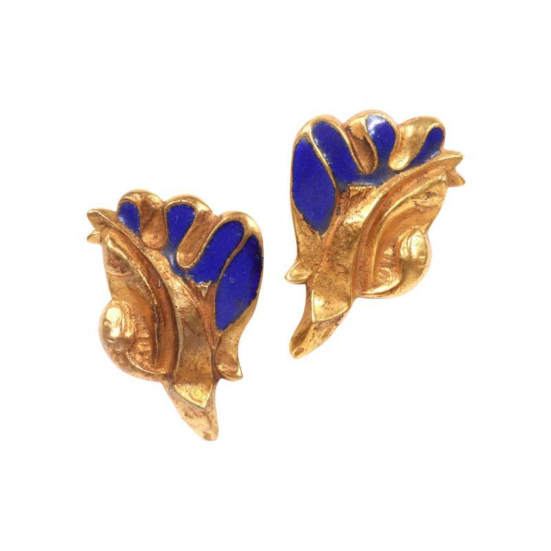 Line Vautrin Pair of Bronze and Enamel Earrings Line Vautrin
