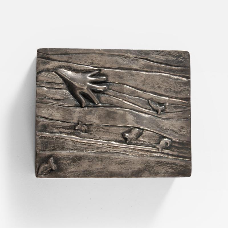 Line Vautrin Silvered bronze box La main aux poissons