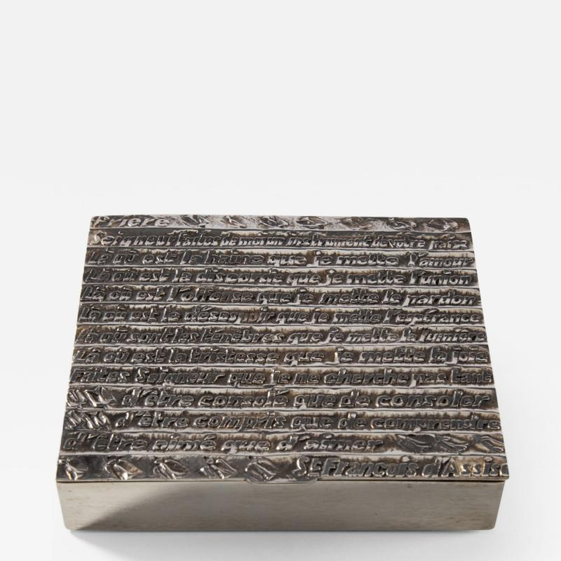Line Vautrin Silvered bronze box La pri re de Saint Fran ois