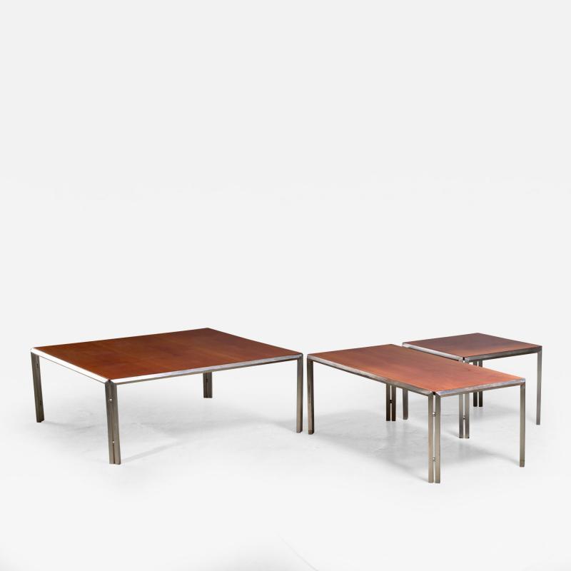 Lino Sabattini Set of Three Silver Plated Low Side Tables by Lino Sabattini