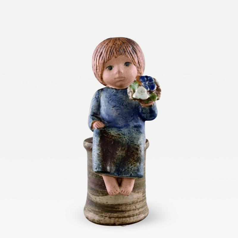 Lisa Larson Girl with flowers in glazed ceramics 20th century