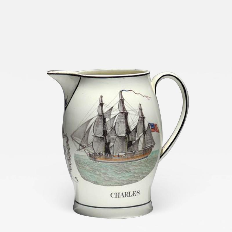 Liverpool Large Creamware Jug with American Ship Inscribed Charles