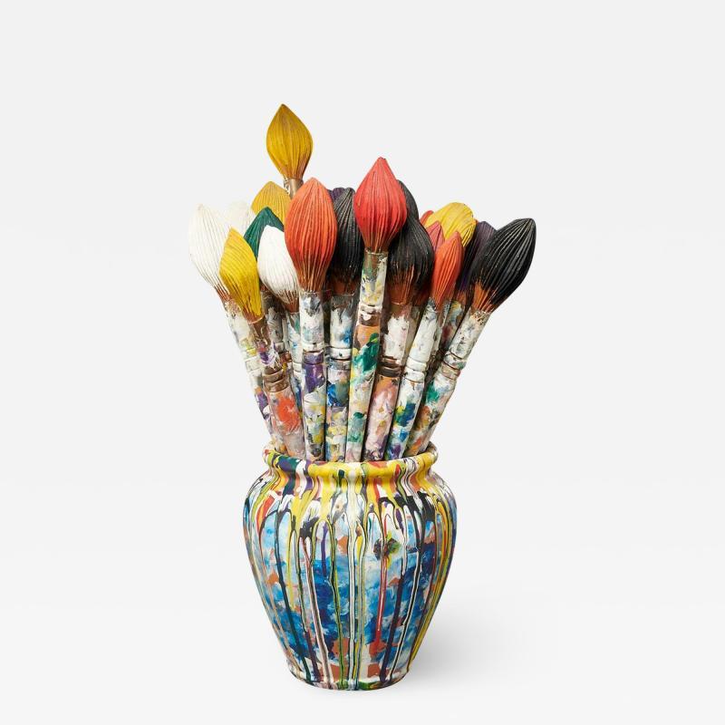 Livio De Marchi Bouquet of Paint Brushes Sculpture by Livio De Marchi