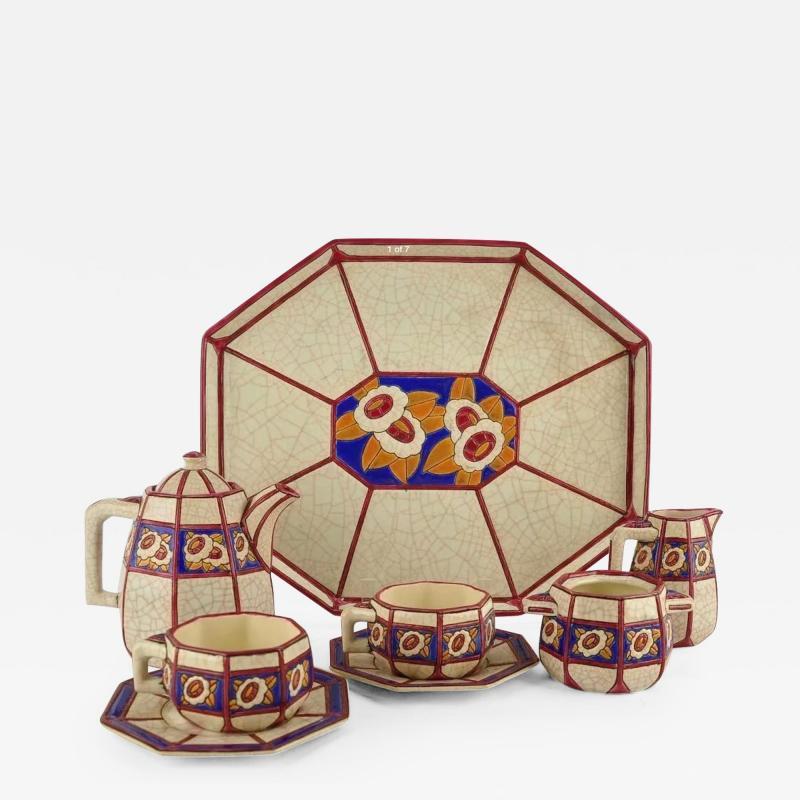 Longwy French Ceramic Cloisonn Art Deco Coffee Tea Suite