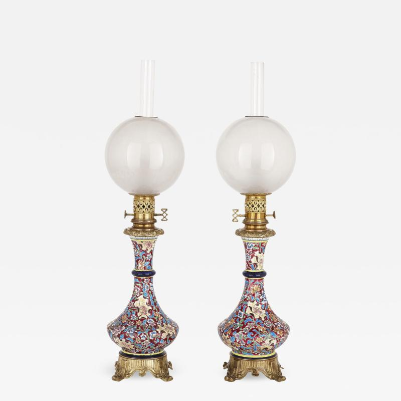 Longwy Pair of French Chinoiserie style faience glass and gilt bronze lamps