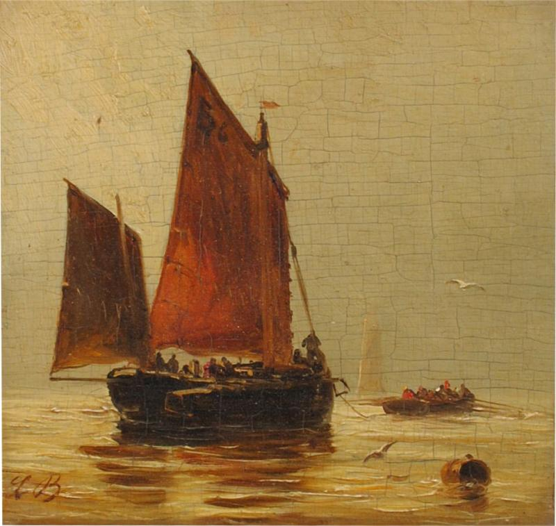 Louis Bentabole 19th c Marine Oil Red Sail Louis Bentabole
