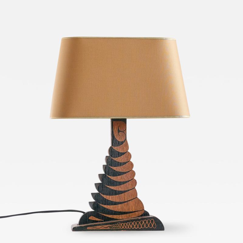 Louis Bogtman Louis Bogtman Batiked Oak Table Lamp with Yellow Gold Shade Netherlands 1925