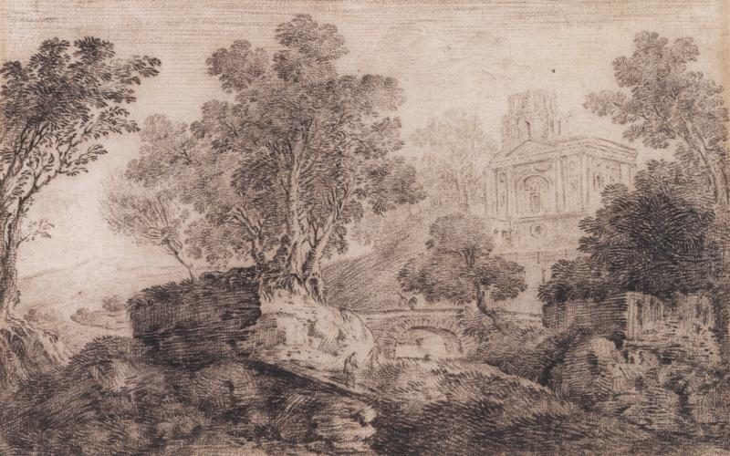 Louis Chaix Landscape with Classical Building in the Background
