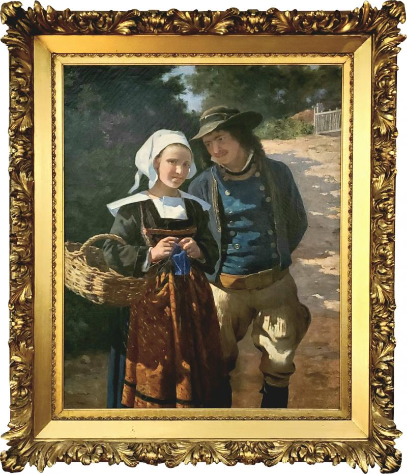 Louis Deschamps Portrait of a French Couple in a Forest Landscape circa 1885